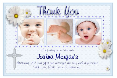 10 Personalised Christening Baptism Thank you PHOTO Cards N130